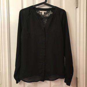 Lauren Conrad Black sheer & lacy top